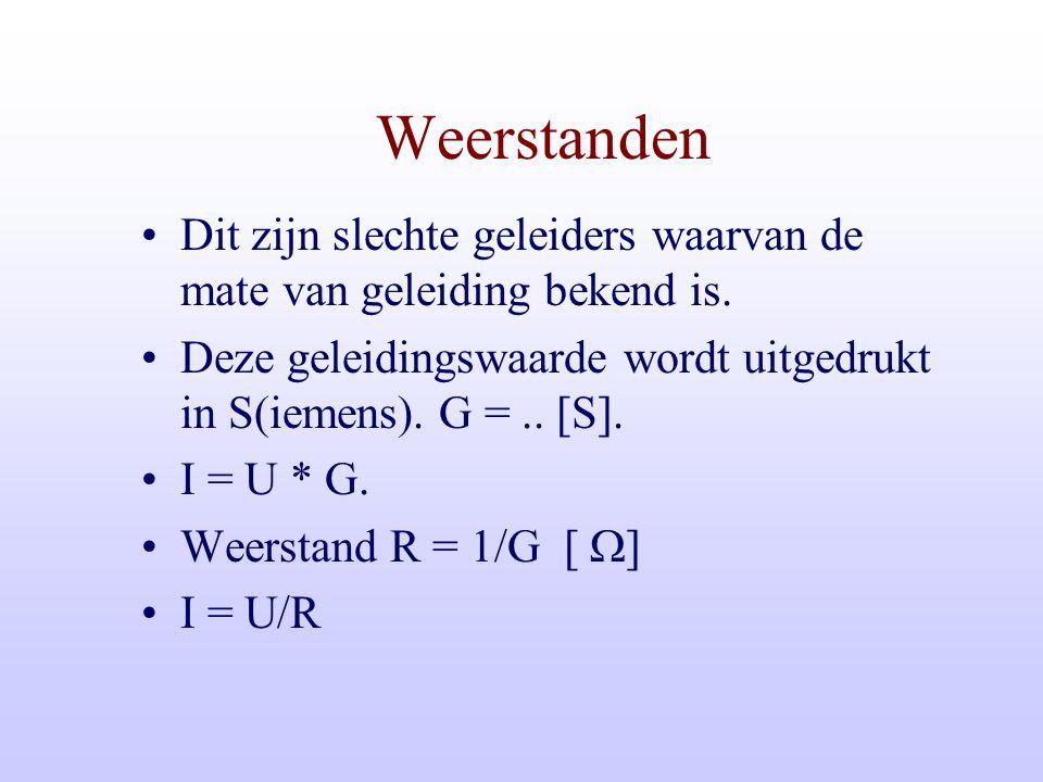Weerstanden Dit zijn slechte geleiders waarvan de mate van geleiding bekend is. Deze geleidingswaarde wordt uitgedrukt in S(iemens). G = .. [S].